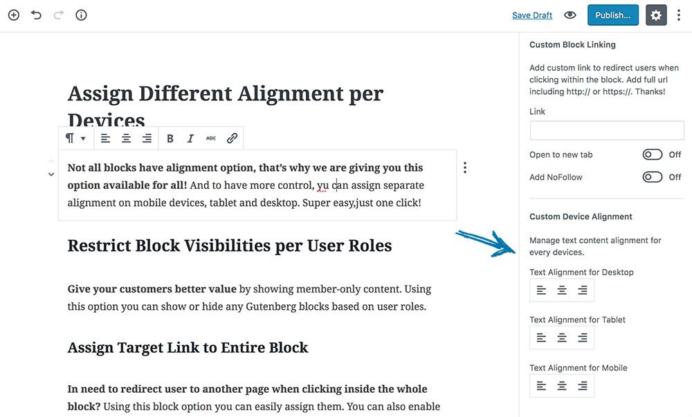 Assign Different Alignment per Devices