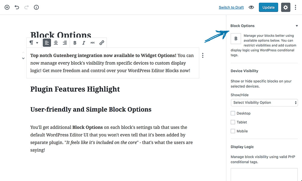 User-friendly and Simple Block Options