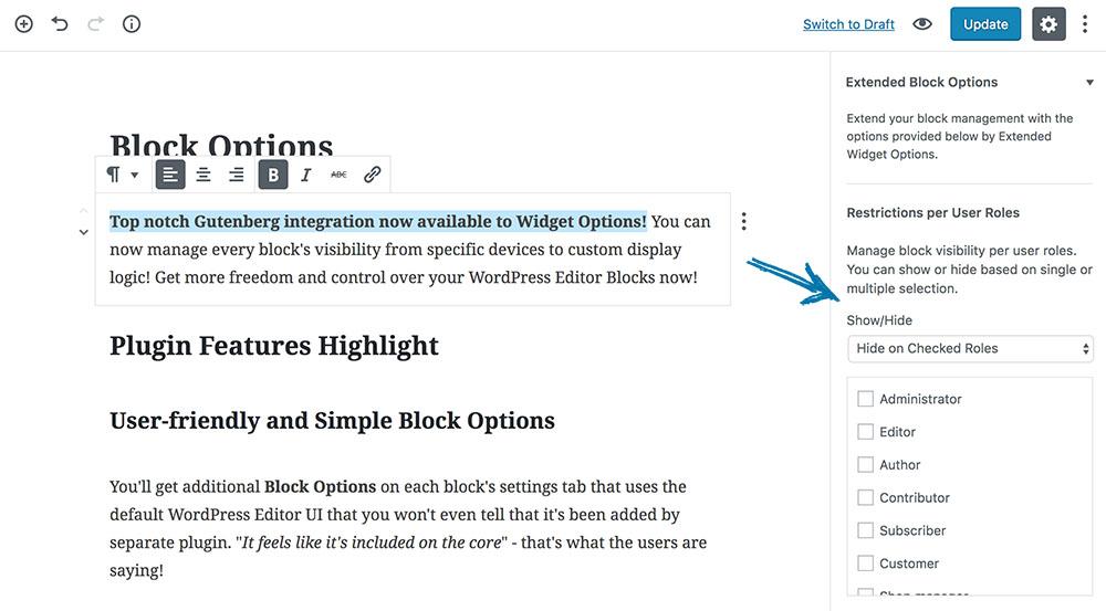 Restrict Block Visibilities per User Roles