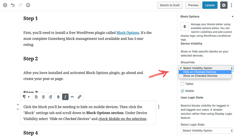 How to Hide WordPress Gutenberg Editor Blocks on Mobile Devices