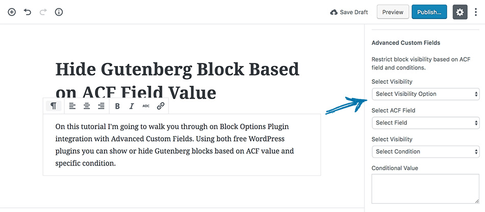 Show or Hide Gutenberg Editor Blocks Based on Advanced Custom Fields (ACF) Value