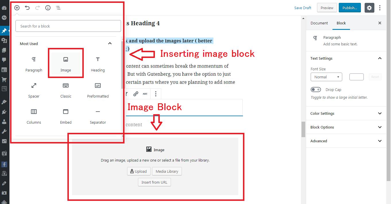 Gutenberg WordPress Editor inserting image block