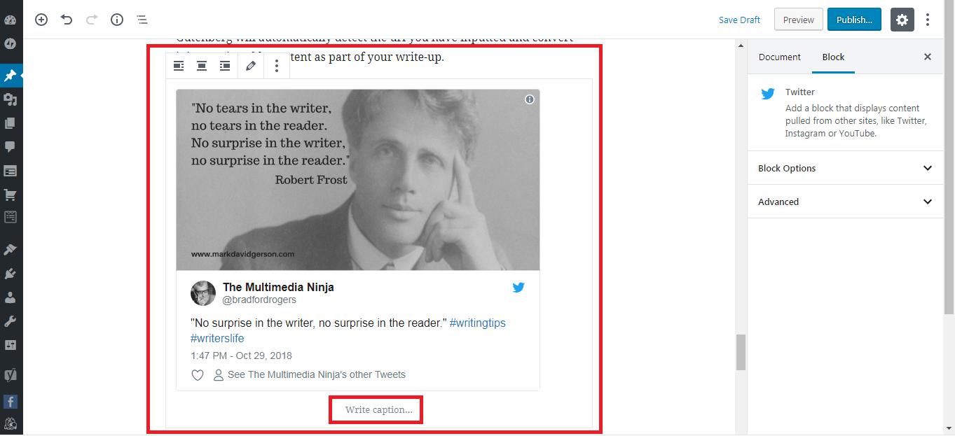 Gutenberg WordPress Editor embed twitter