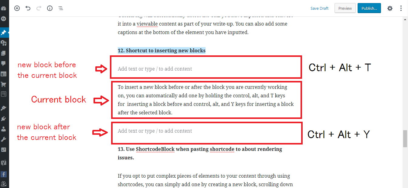 Gutenberg WordPress Editor inserting block shortcuts