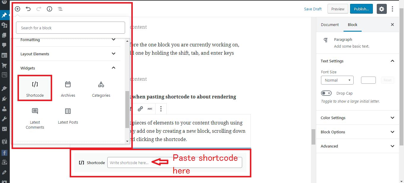 Gutenberg WordPress Editor shortcode block