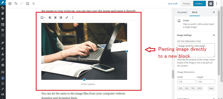 Gutenberg WordPress Editor embed images