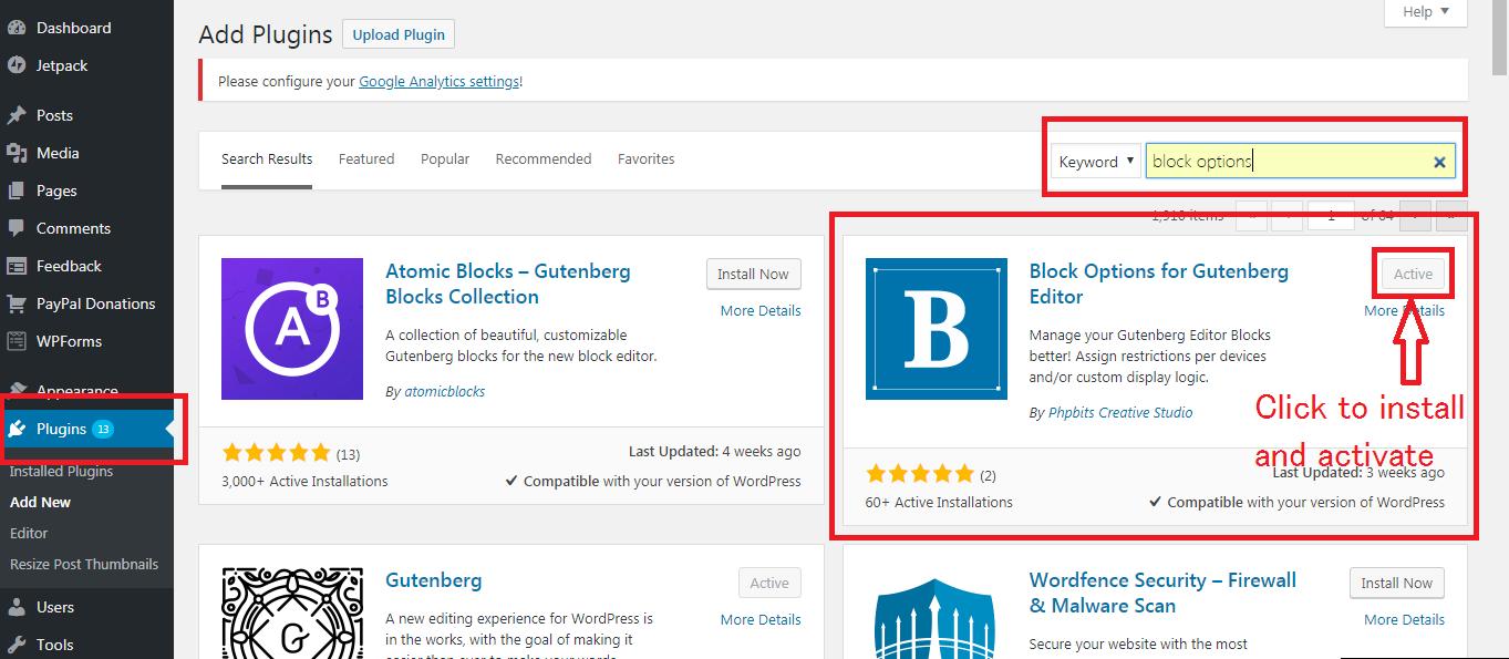 Gutenberg WordPress Editor block options plugin