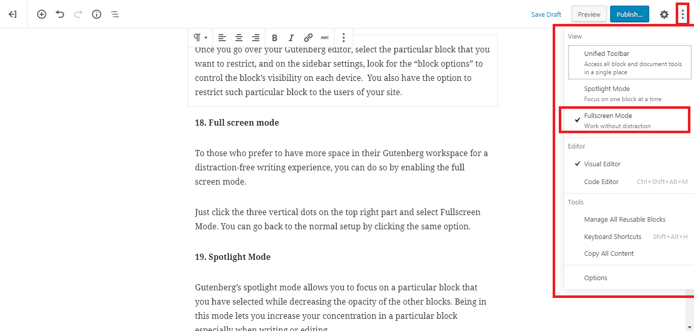 Gutenberg WordPress Editor fullscreen mode