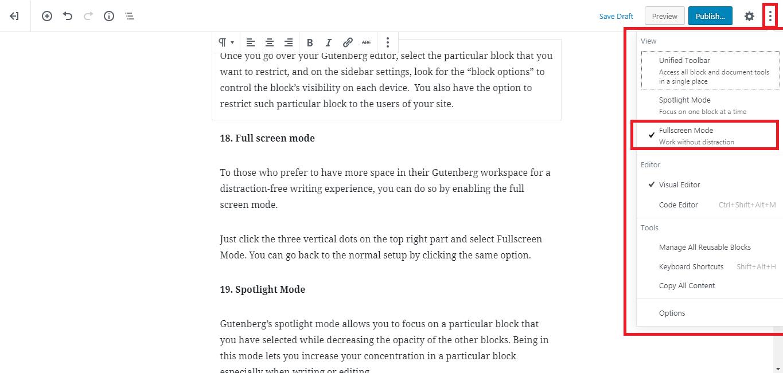 Gutenberg WordPress Editor fullscreen mode