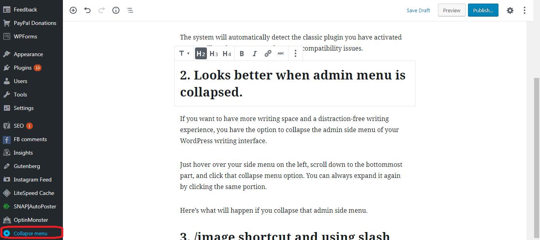 Gutenberg WordPress Editor collapsable menu