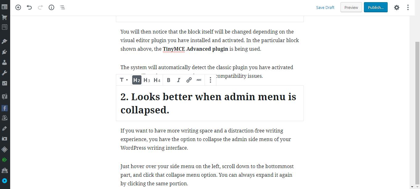 Gutenberg WordPress Editor collapsed menu