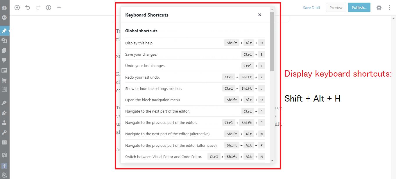 Gutenberg WordPress Editor keyboard shortcuts