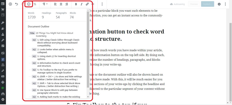 Gutenberg WordPress Editor word count
