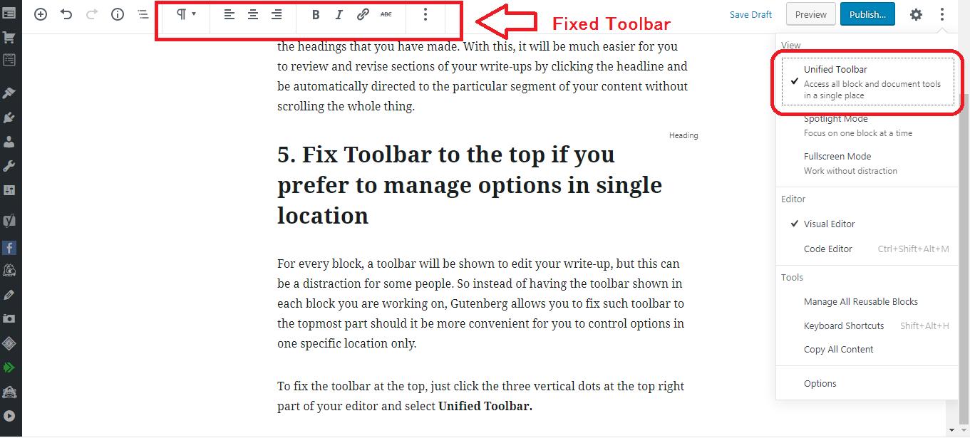 Gutenberg WordPress Editor unified toolbar