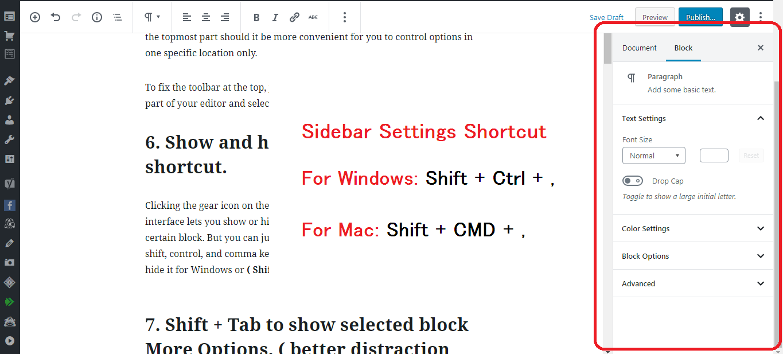 Gutenberg WordPress Editor settings sidebar