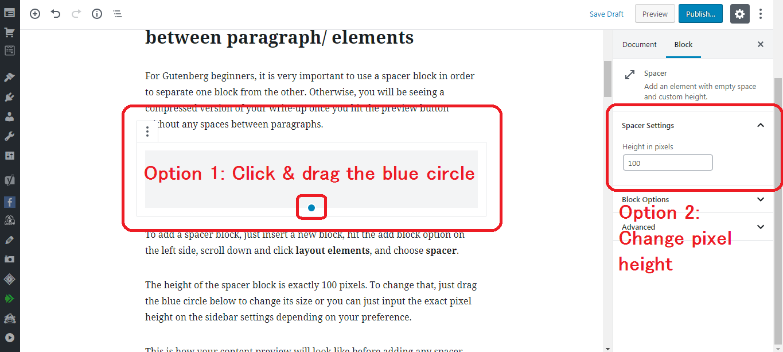 Gutenberg WordPress Editor resizeable spacer block