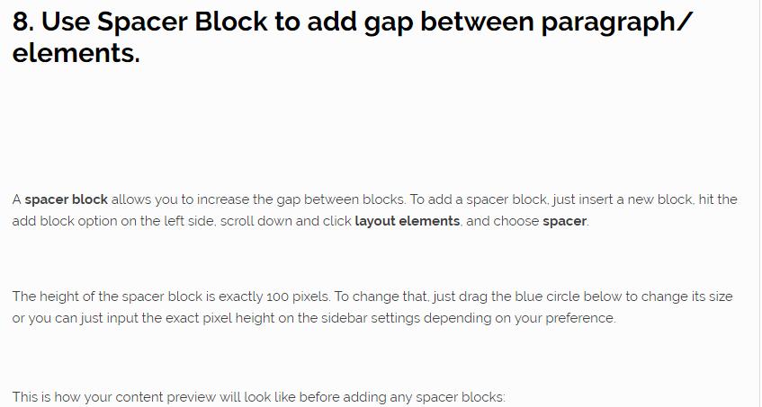 Gutenberg WordPress Editor spacer block