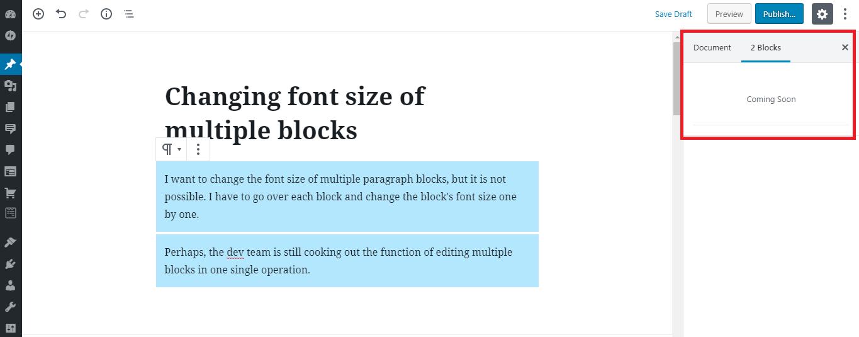 Changing font size of multiple blocks on Gutenberg Editor