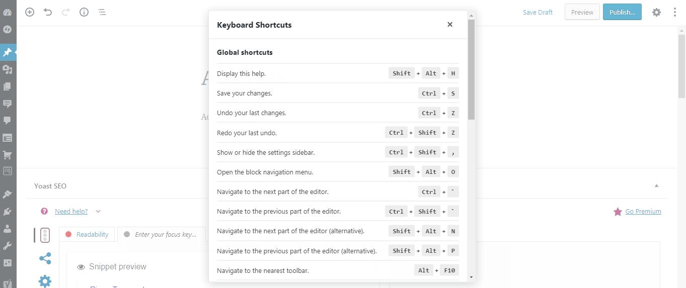 Keyboard shortcuts for Gutenberg Editor