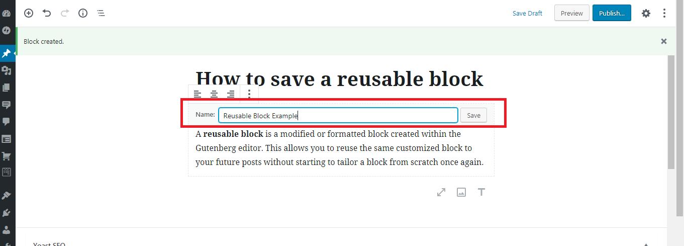 How to name a reusable block on Gutenberg Editor