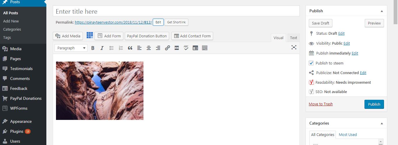 Adding images on WordPress Classic Editor
